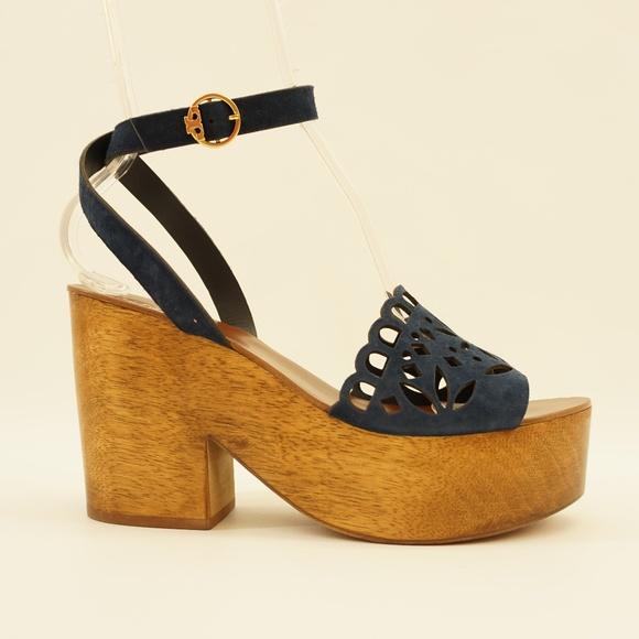 6bdba9964 Tory Burch Suede Ankle Strap Platform Sandals 9